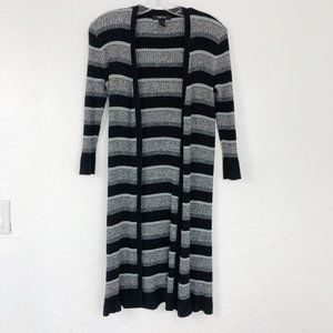 ! Style & Co Black Gray Striped Duster Cardigan